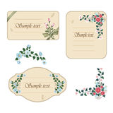 Tree vintage labels with flowers Stock Photos
