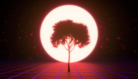 A tree in the virtual space, red tint stock photo