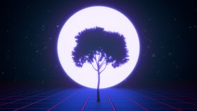 Tree in the virtual space stock footage