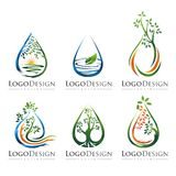 TREE WATER LOGO VECTOR SET 2 royalty free stock images