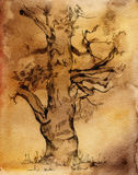 Tree on watercolor background. Watercolor brown ancient card with graphic tree vector illustration