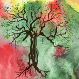 Tree on the watercolor background Royalty Free Stock Photo