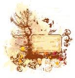 Tree & Watercolor Paint Stock Photo