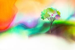 Tree on watercolored background Royalty Free Stock Image