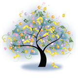 Tree of Wealth (vector). Tree of wealth with money and bullion hanging on, create by Royalty Free Stock Photos