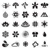 Tree weather Flower icons signs. Stock Photography