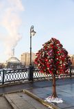 Tree with wedding locks on bridge. Moscow Royalty Free Stock Image