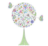 Tree on white background. Vector illustration of colorful   tree on white background Royalty Free Stock Photos