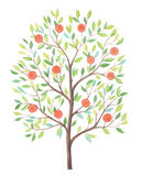 Tree. On white background. Watercolor illustration. Can be used as greeting card, invitation card for wedding, birthday and other holiday and summer background Stock Illustration
