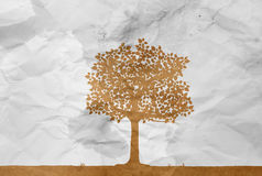 Tree on white wrinkle paper Royalty Free Stock Photo