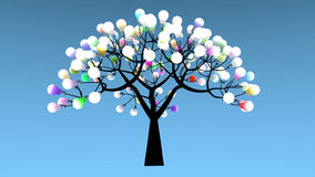 Tree whose leaves are colored light bulbs. 3D Rendering Stock Photo