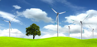 Tree on wind farm Royalty Free Stock Photos