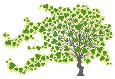 Tree in Wind with Green Hearts Stock Image