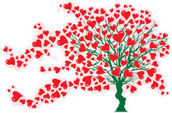 Tree in Wind with Red Hearts Stock Photography