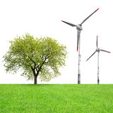 Tree with wind turbines Royalty Free Stock Image