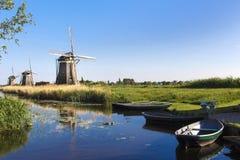 Tree Dutch Windmills Stock Image