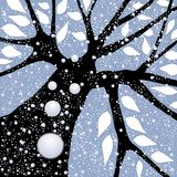 Tree In Winter. Tree silhouette with falling snow, sky blue background,  illustration, vector format is available Royalty Free Stock Photography