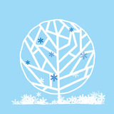 Tree in winter. Tree in four seasons vector illustration Royalty Free Stock Image