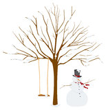 Tree in Winter with Snowman Royalty Free Stock Photo