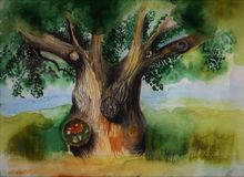 The tree of wisdom. Nature has preserved for us many things that you can admire. Oak is an ordinary tree, someone will say, but for me it hides in itself the Stock Images