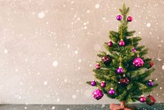 Free Tree With Purple Balls, Copy Space For Advertisement, Snowflakes Stock Image - 131868351