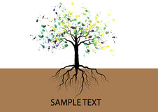 Tree With Roots Underground Watercolor Design,vector Stock Photo