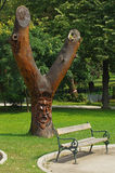 Tree with wood carving of a face. In a garden stock images