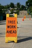 Tree Work Ahead Sign royalty free stock photo