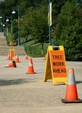Tree Work Ahead Sign stock photo