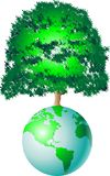 Tree of world. World globe with giant tree stock illustration