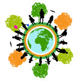 Tree world ,children. Kids and world and  illustration Royalty Free Stock Photography