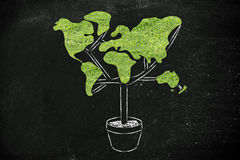 Tree with world map shaped foliage, concept of ecology Royalty Free Stock Photo
