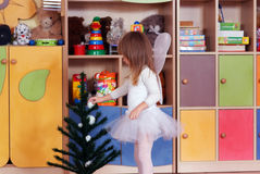 Tree-year girl playing and learning in preschool Stock Images