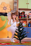 Tree-year girl playing and learning in preschool Stock Photography