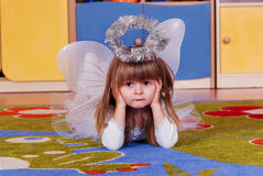 Tree-year girl playing and learning in preschool Royalty Free Stock Photo