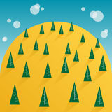 Tree and yellow mountain sky Royalty Free Stock Photography