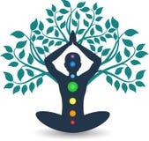 Tree yoga logo. Illustration art of a tree yoga logo with isolated background Royalty Free Stock Image