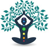Tree yoga logo stock illustration
