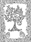 Tree zentangle coloring page Royalty Free Stock Photo