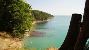 treed峭壁的美好的风景在黑海的天蓝色的水的旁边自在阳光下的白天 Tuapse,俄罗斯 免版税库存照片