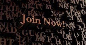 Treed nu toe! - De houten 3D teruggegeven brieven/bericht, kunnen voor een online banneradvertentie of een drukprentbriefkaar wor Stock Fotografie
