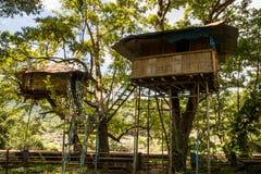 Treehouse στον ποταμό Chalakkudi και τη γέφυρα Vetilappara στοκ εικόνα