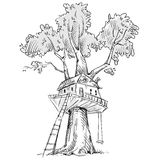Treehouse. Hand drawn, vector illustration Royalty Free Stock Photography