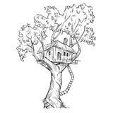 Treehouse. Hand drawn, vector illustration Stock Image
