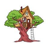 Treehouse, hut op boom met ladder voor jonge geitjes stock illustratie