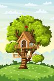 Treehouse op een Weide Stock Foto