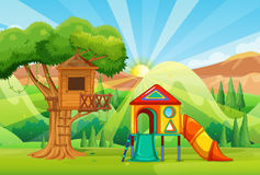 Treehouse and slides in the park Stock Image