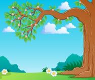 Treen förgrena sig fjädrar in tema avbildar   Royaltyfri Fotografi