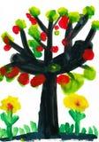 Treen med äpplen, vattenfärg målar Arkivbild