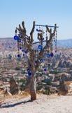 Treen och ondskan eye amuletten i Cappadocia Turkiet Royaltyfria Bilder